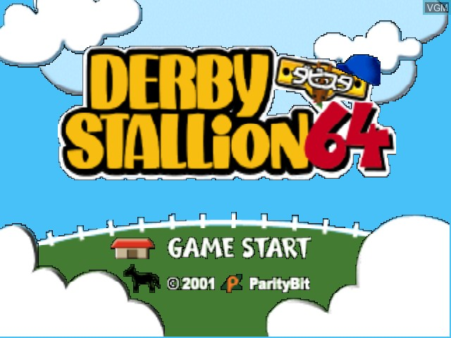 Title screen of the game Derby Stallion 64 on Nintendo 64