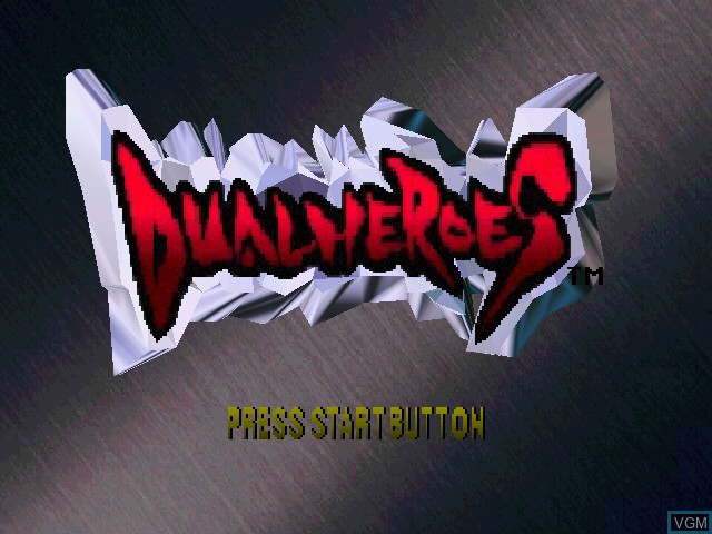 Title screen of the game Dual Heroes on Nintendo 64
