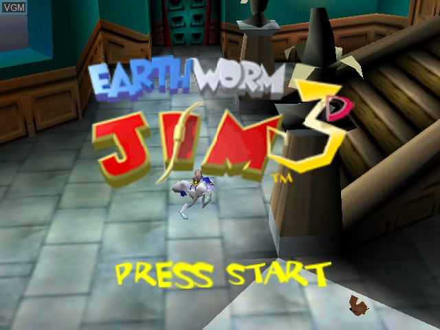 Title screen of the game Earthworm Jim 3D on Nintendo 64