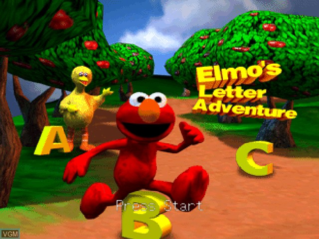 Title screen of the game Elmo's Letter Adventure on Nintendo 64