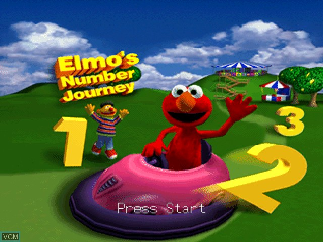 Title screen of the game Elmo's Number Journey on Nintendo 64