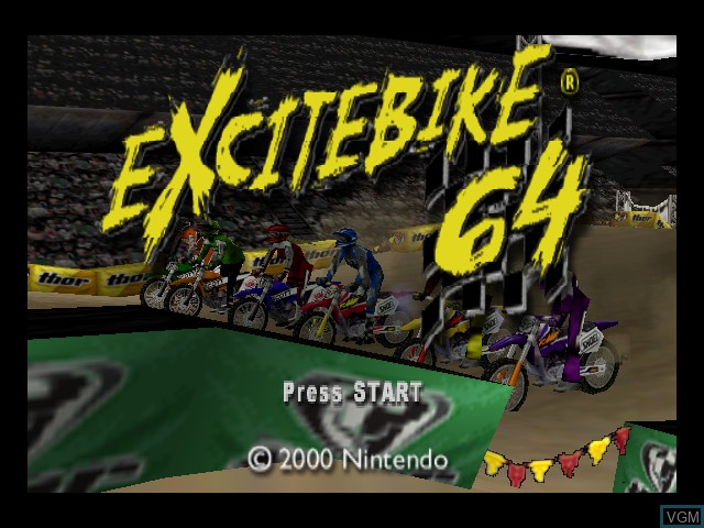 Title screen of the game Excitebike 64 on Nintendo 64