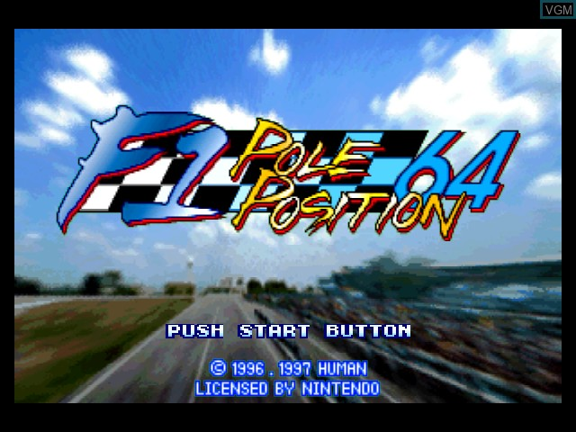 Title screen of the game F-1 Pole Position 64 on Nintendo 64