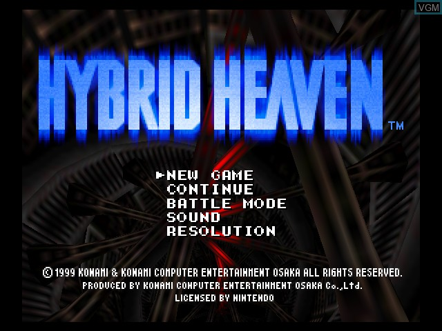 Title screen of the game Hybrid Heaven on Nintendo 64