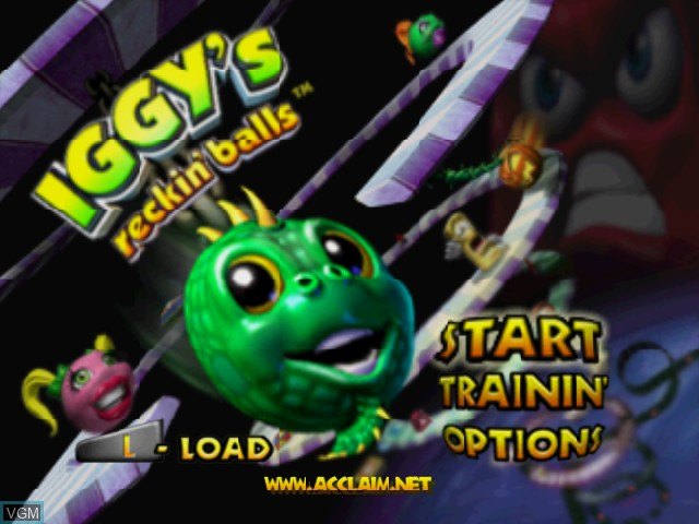 Title screen of the game Iggy's Reckin' Balls on Nintendo 64