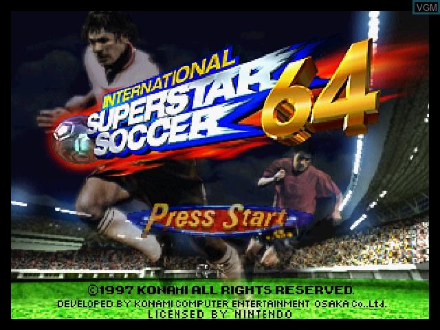 Title screen of the game International Superstar Soccer 64 on Nintendo 64