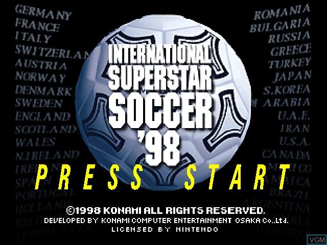 Title screen of the game International Superstar Soccer '98 on Nintendo 64