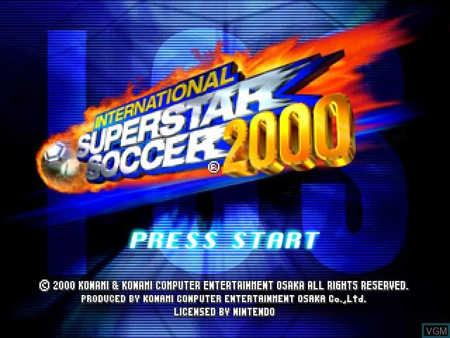 Title screen of the game International Superstar Soccer 2000 on Nintendo 64