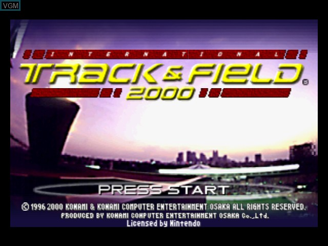 Title screen of the game International Track & Field 2000 on Nintendo 64