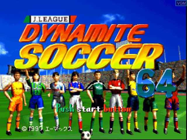 Title screen of the game J.League Dynamite Soccer 64 on Nintendo 64