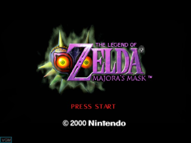 Title screen of the game Legend of Zelda, The - Majora's Mask on Nintendo 64