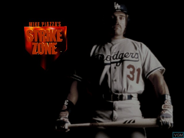 Title screen of the game Mike Piazza's Strike Zone on Nintendo 64