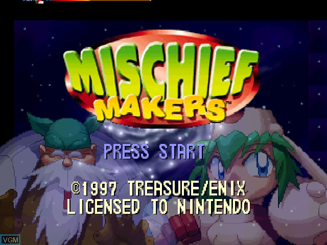 Title screen of the game Mischief Makers on Nintendo 64