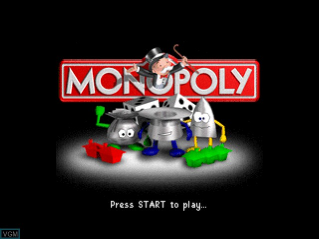 Title screen of the game Monopoly on Nintendo 64
