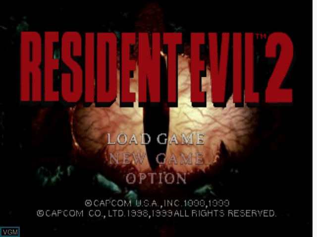 Title screen of the game Resident Evil 2 on Nintendo 64