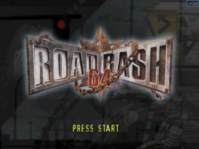 Title screen of the game Road Rash 64 on Nintendo 64