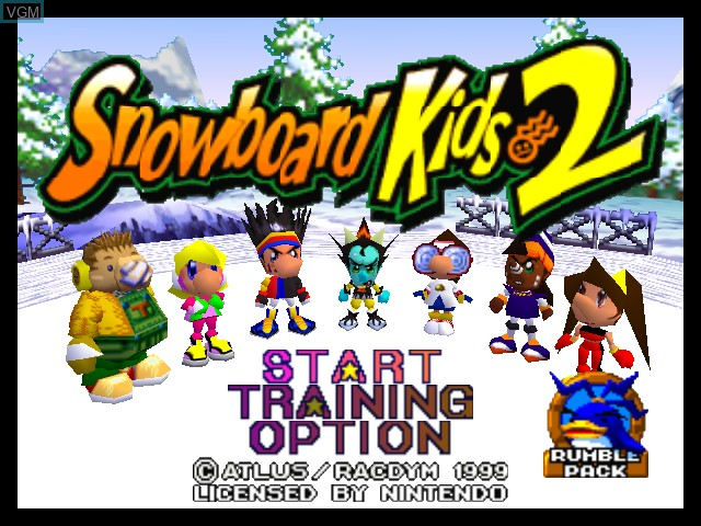 Title screen of the game Snowboard Kids 2 on Nintendo 64
