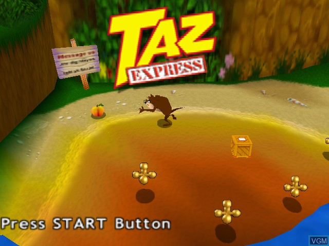 Title screen of the game Taz Express on Nintendo 64