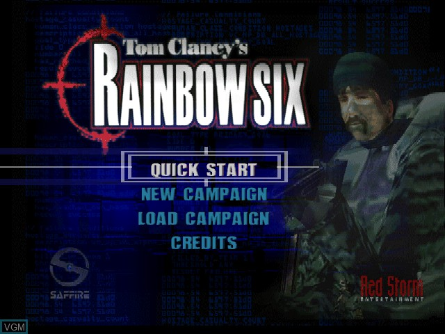 Title screen of the game Tom Clancy's Rainbow Six on Nintendo 64
