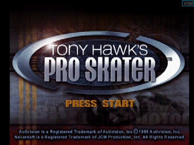 Title screen of the game Tony Hawk's Pro Skater on Nintendo 64