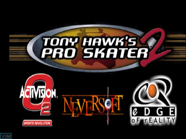 Title screen of the game Tony Hawk's Pro Skater 2 on Nintendo 64