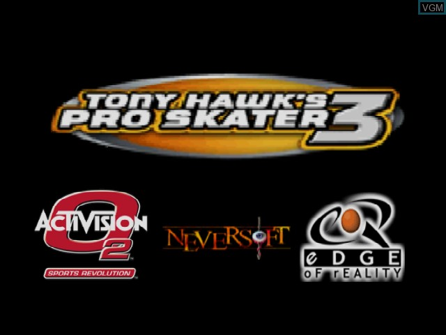 Title screen of the game Tony Hawk's Pro Skater 3 on Nintendo 64