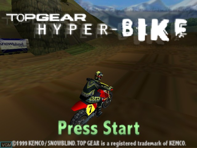 Title screen of the game Top Gear Hyper Bike on Nintendo 64