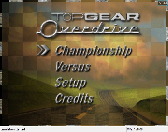 Title screen of the game Top Gear Overdrive on Nintendo 64