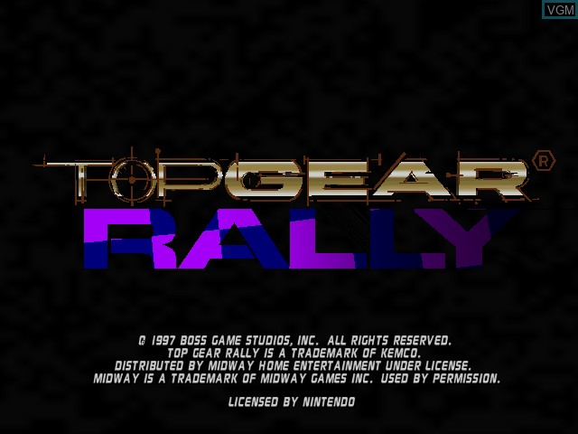 Title screen of the game Top Gear Rally on Nintendo 64