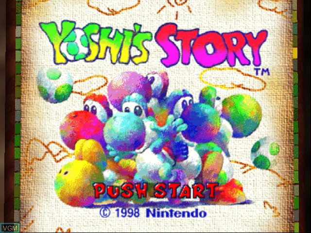 Title screen of the game Yoshi Story on Nintendo 64