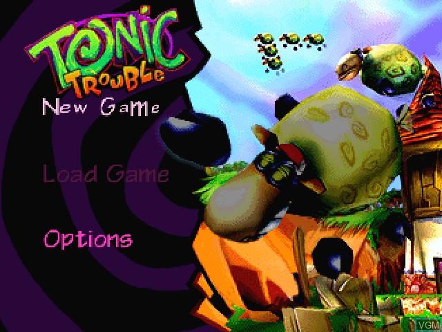 Menu screen of the game Tonic Trouble on Nintendo 64