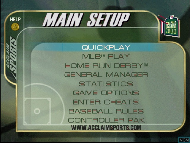 Menu screen of the game All-Star Baseball 2000 on Nintendo 64