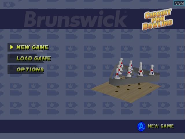 Menu screen of the game Brunswick Circuit Pro Bowling on Nintendo 64