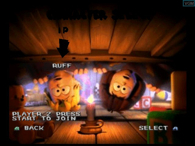 Menu screen of the game 40 Winks on Nintendo 64