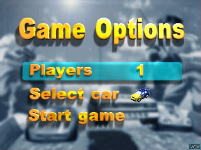 Menu screen of the game Tamiya Racing 64 on Nintendo 64