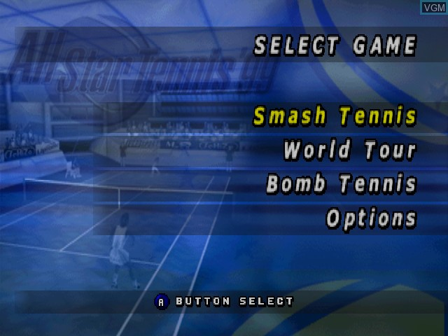 Menu screen of the game All Star Tennis '99 on Nintendo 64