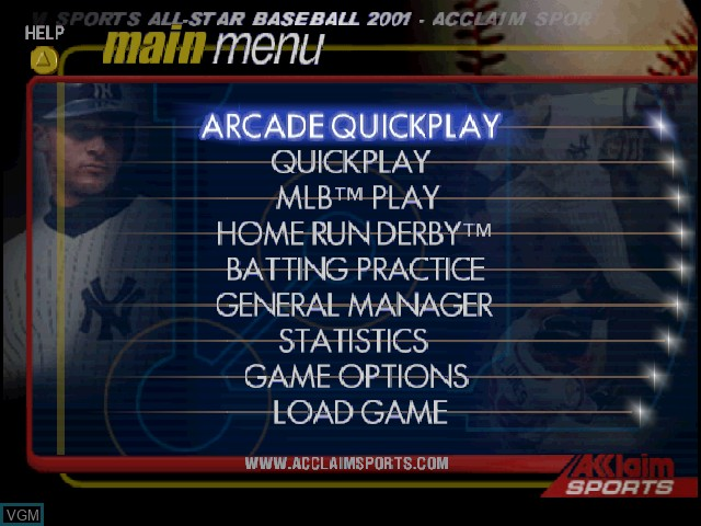 Menu screen of the game All-Star Baseball 2001 on Nintendo 64