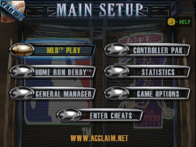 Menu screen of the game All-Star Baseball '99 on Nintendo 64