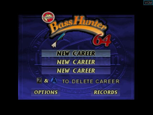 Menu screen of the game Bass Hunter 64 on Nintendo 64