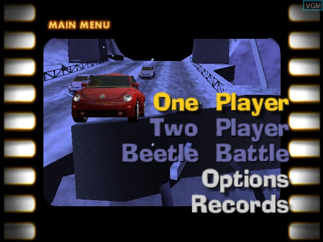 Menu screen of the game Beetle Adventure Racing! on Nintendo 64