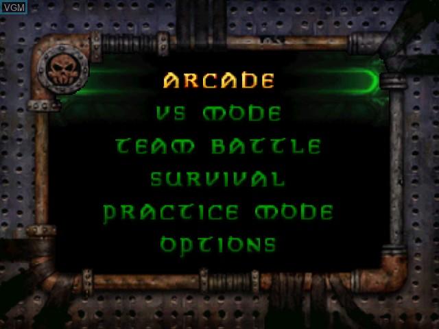 Menu screen of the game Bio F.R.E.A.K.S. on Nintendo 64