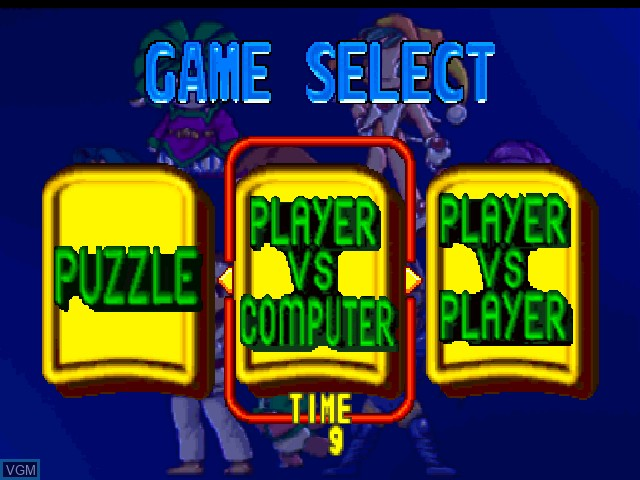Menu screen of the game Bust-A-Move '99 on Nintendo 64