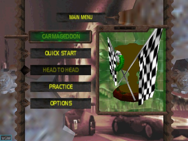 Menu screen of the game Carmageddon 64 on Nintendo 64