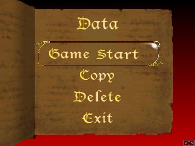 Menu screen of the game Castlevania on Nintendo 64