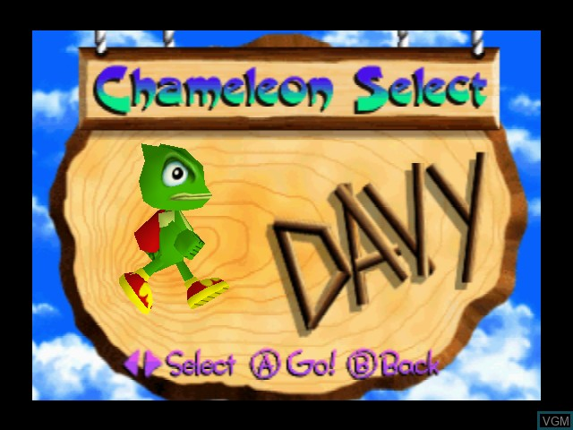 Menu screen of the game Chameleon Twist 2 on Nintendo 64