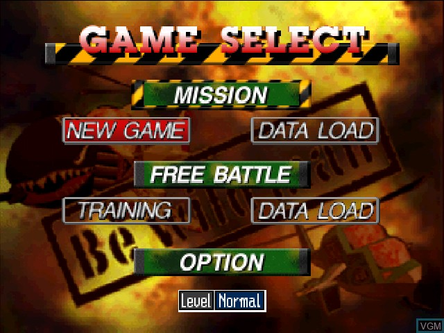 Menu screen of the game Chopper Attack on Nintendo 64