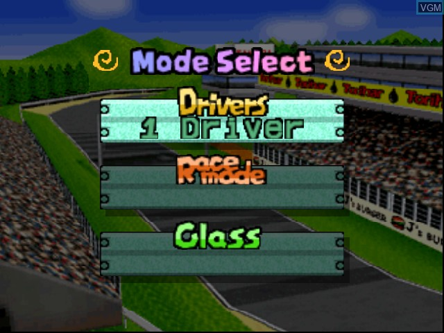 Menu screen of the game Choro Q 64 on Nintendo 64