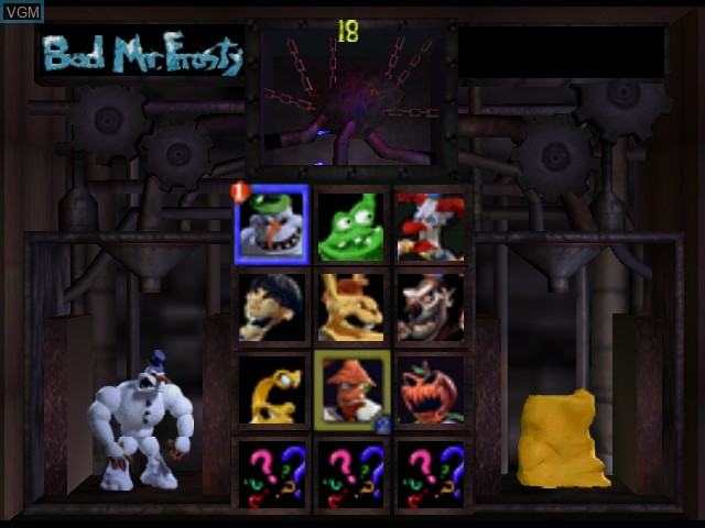 Menu screen of the game Clay Fighter 63 1-3 on Nintendo 64