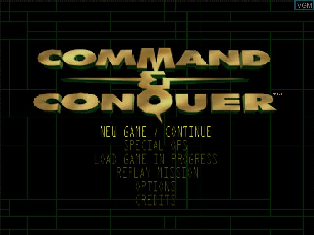 Menu screen of the game Command & Conquer on Nintendo 64