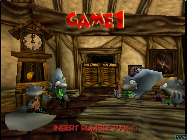 Menu screen of the game Conker's Bad Fur Day on Nintendo 64